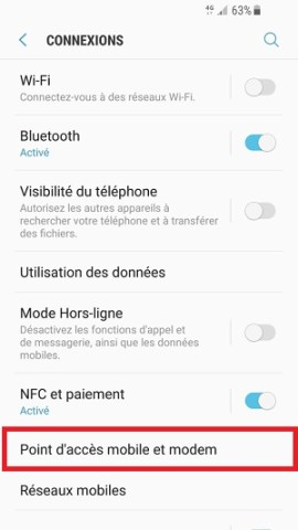internet Samsung android 7 nougat point accès mobile