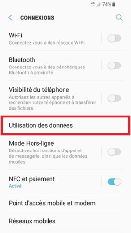 internet Samsung android 7 utilsiation des données