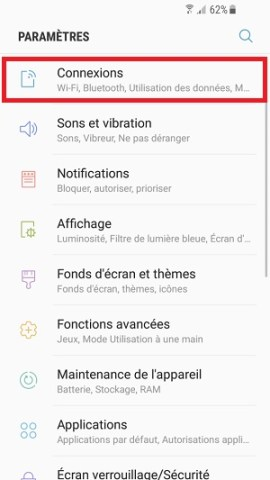 MMS Samsung android 7 connexions
