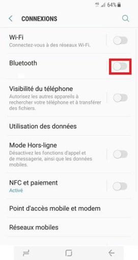 autonomie Samsung S8 bluetooth