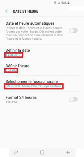 SMS Samsung Galaxy S8 date et heure