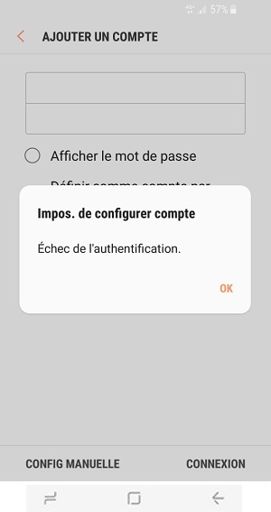 mail Samsung S8 echec authentification