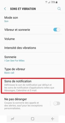 Personnaliser Samsung Galaxy S8 sons