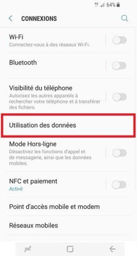 autonomie Samsung S8 utilisation des données