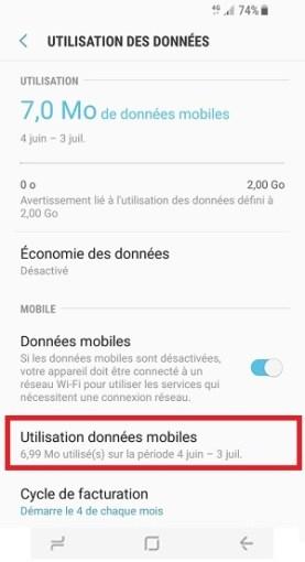 internet Samsung Galaxy S8 utilisation des données