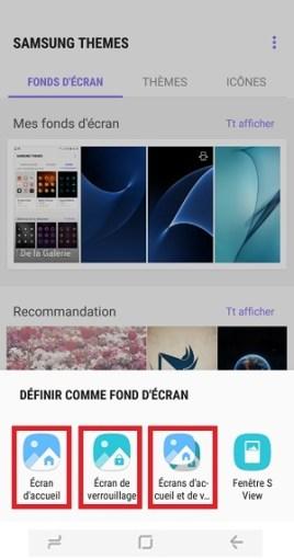 Personnaliser Samsung Galaxy S8 ecran d'accueil