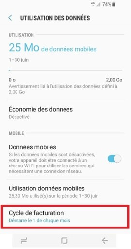 internet Samsung Galaxy S8 cycle de facturation