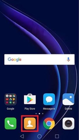 contact code pin ecran verrouillage Huawei (android 7.0) importer exporter contact