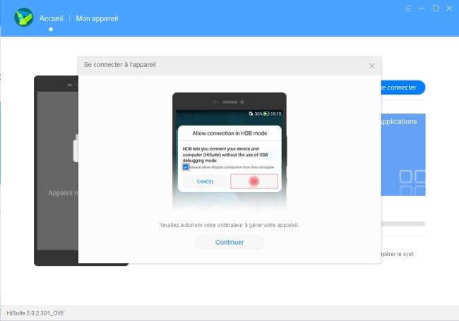 HiSuite Sauvegarder et Restaurer sur PC