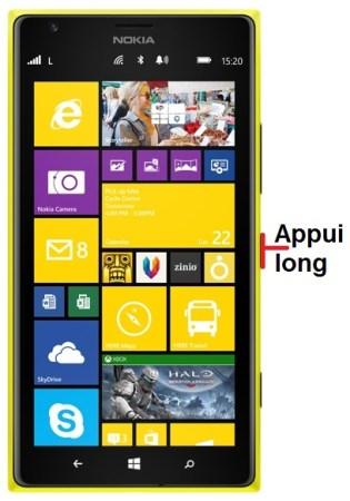 Nokia Lumia 1520 allumage