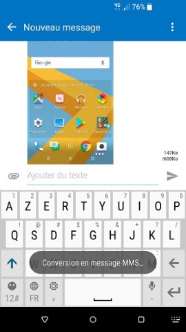 MMS HTC android 7 envoyer