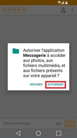 MMS LG android 7 envoyer