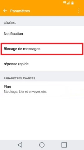 SMS LG android 7 reception SMS