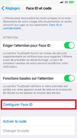 contact code pin ecran verrouillage iphone X