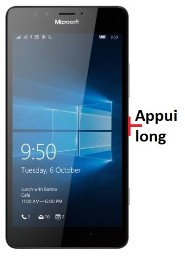 éteindre Lumia 950