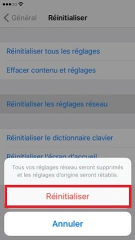 Iphone IOS 10 réseau réinitialiser