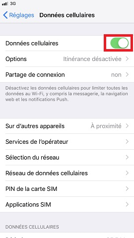 internet iPhone 8 données cellulaires