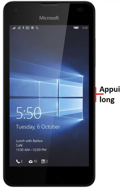 éteindre Lumia 550