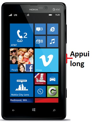 éteindre Lumia 820