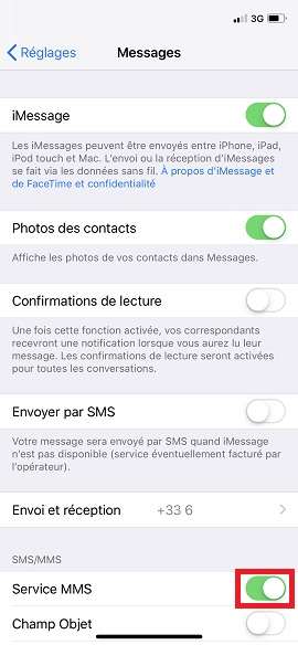 MMS iPhone X services MMS