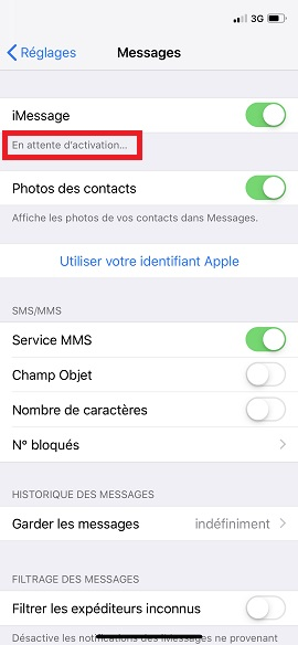 SMS iMessages iPhone 7
