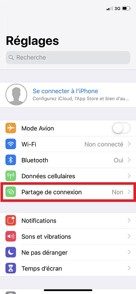 internet iPhone X partage internet