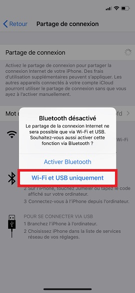 internet iPhone 8 partage internet