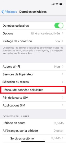 internet iPhone X nom du point d'acces