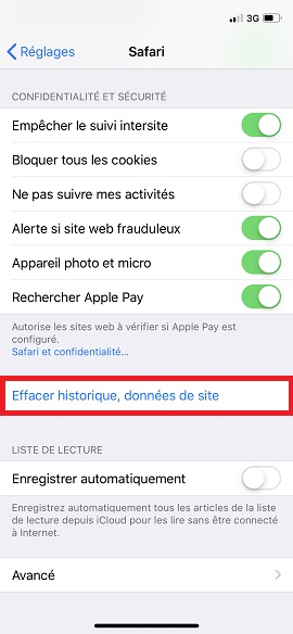 internet iPhone X vider le cache safari