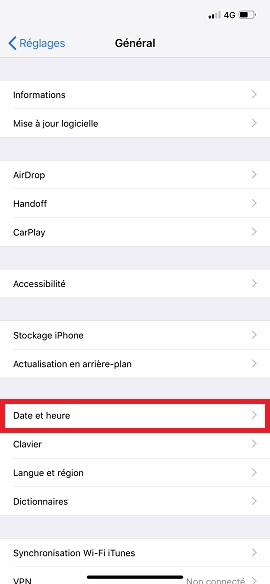 Applications iPhone X date et heure