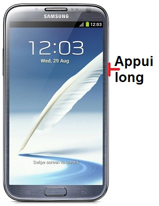 éteindre Samsung Note 2