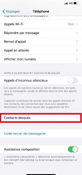 bloquer numéro iPhone 11