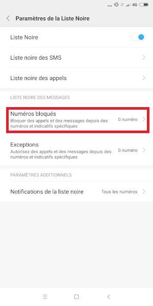 bloquer numéro Xiaomi Note 6