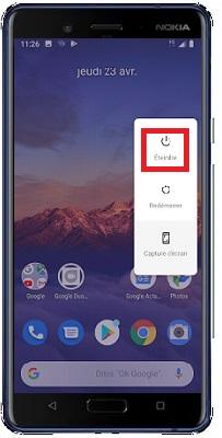 éteindre Nokia 8