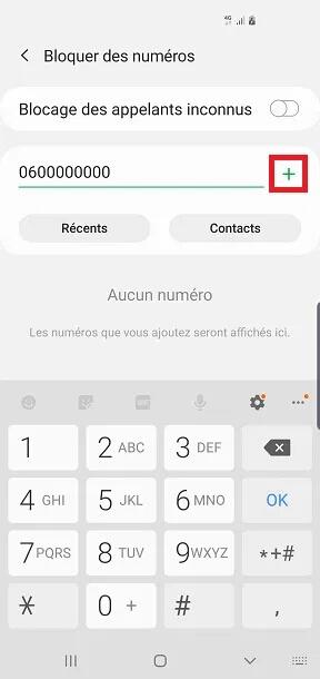 bloquer numéro Samsung A31
