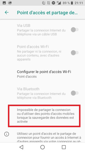 Problème de partage de connexion sur Samsung Galaxy S20 Ultra