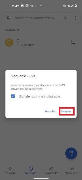 bloquer numéro Pixel 5