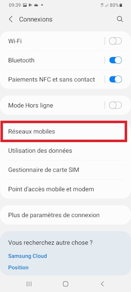 réseaux Samsung A01