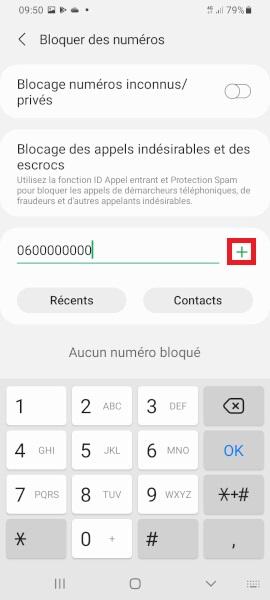 bloquer numéro Samsung A01