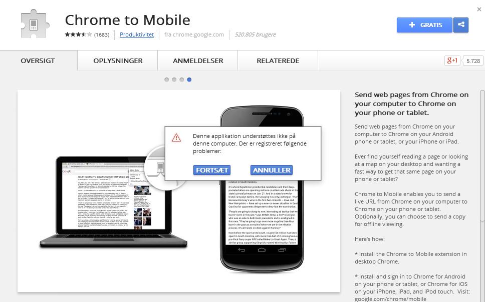 Guide: Sådan sender du en webside fra Google Chrome til