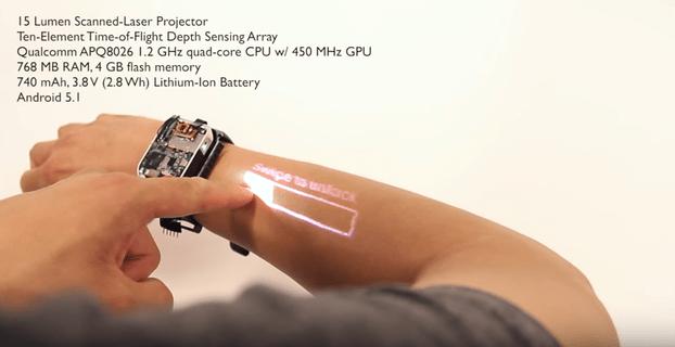 LumiWatch arbetar på en smartklocka som kan projicera displayen på handleden