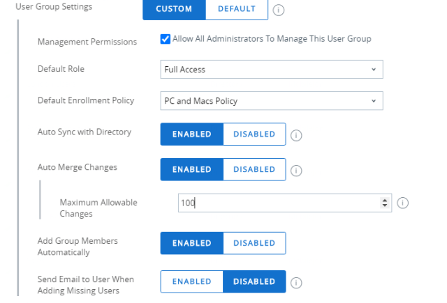 Setting User Group Settings in Workspace ONE UEM