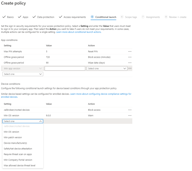 Setting your Conditional Launch for App Protection Policies