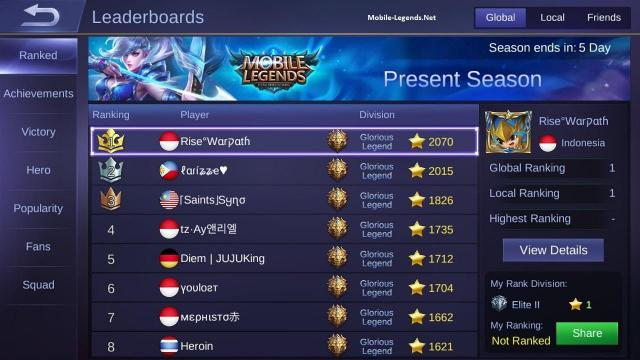S5 To S6 Rank Division 2019 Mobile Legends