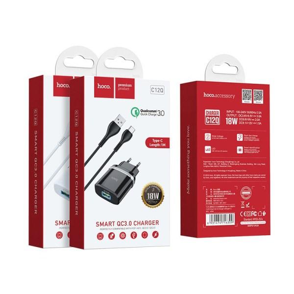 Зарядное устройство HOCO C12Q Smart QC3.0 EU штекер один USB набор с кабелем Type-C