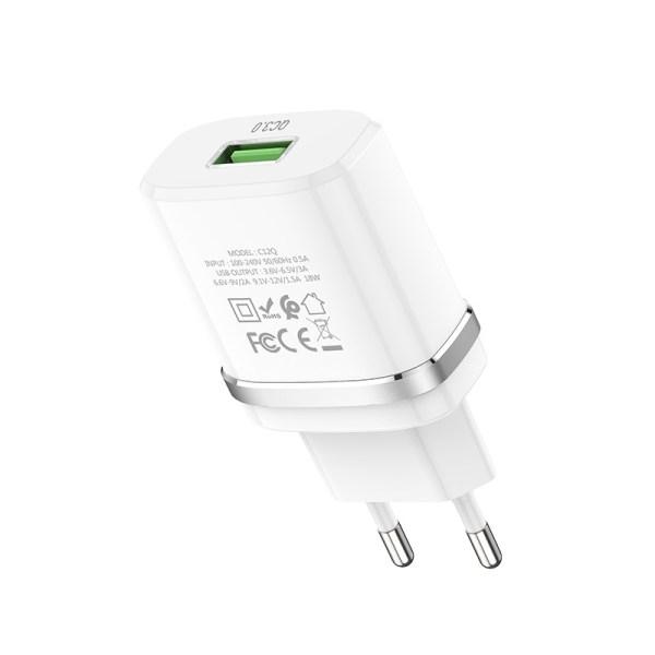 Зарядное устройство HOCO C12Q Smart QC3.0 EU штекер один USB набор с кабелем Type-C белый