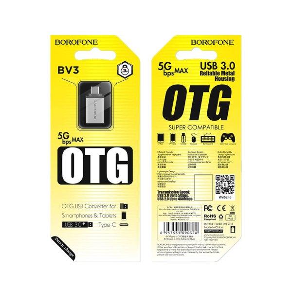 OTG адаптер USB на Type-C BOROFONE BV3
