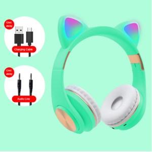 Наушники Bluetooth Cat Ear M1 с подсветкой бирюзовые