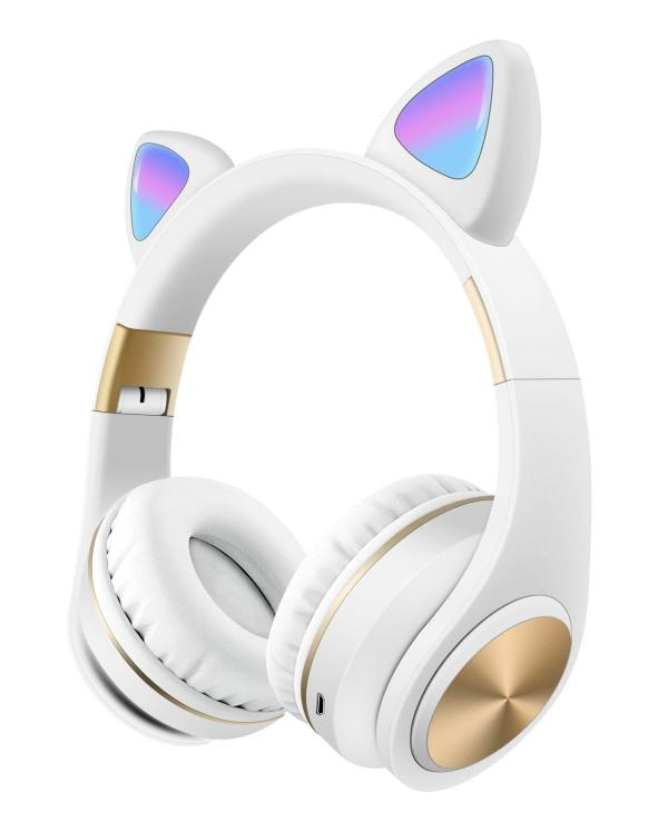 Наушники Bluetooth Cat Ear M1 с подсветкой белые
