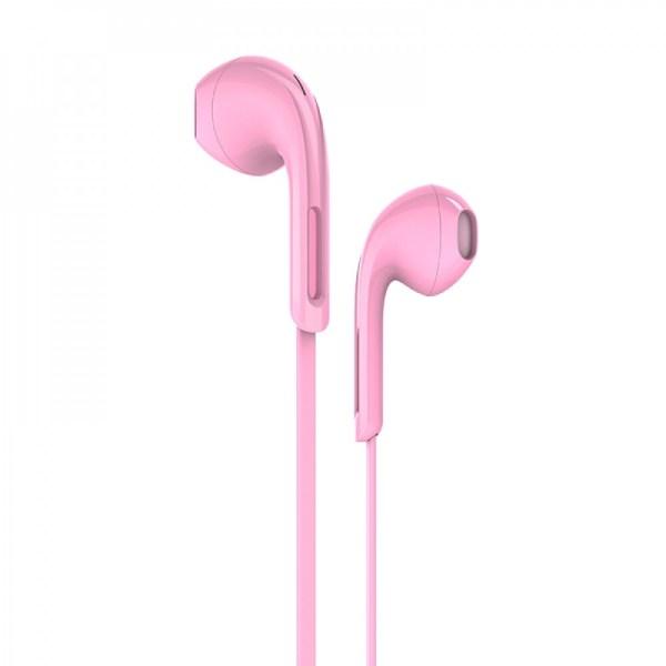 Наушники проводные HOCO M39 с микрофоном розовые